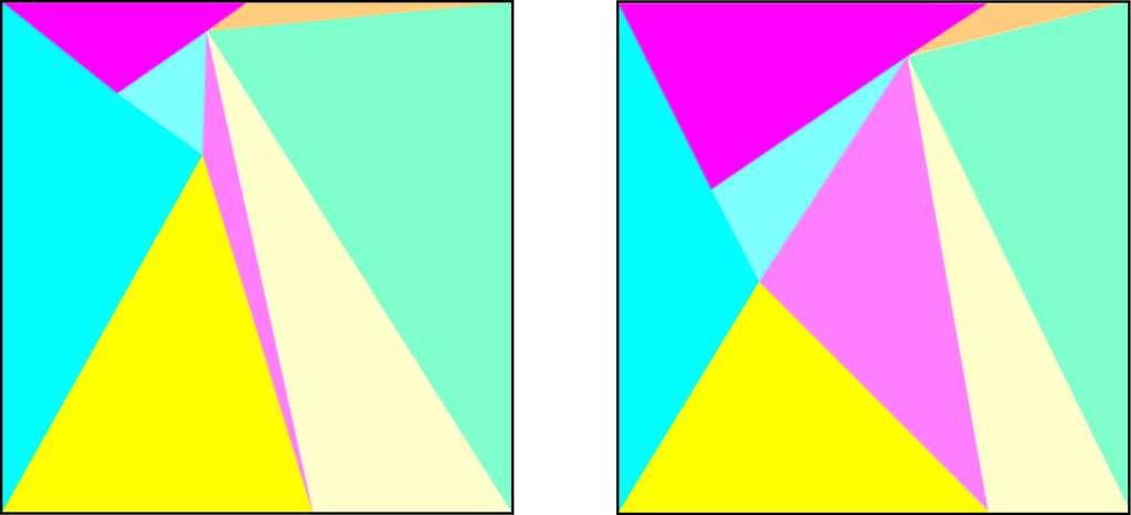 Les deux systèmes de triangles doivent être déformables l'un en l'autre, comme ceux-ci. © Hervé Lehning, DR