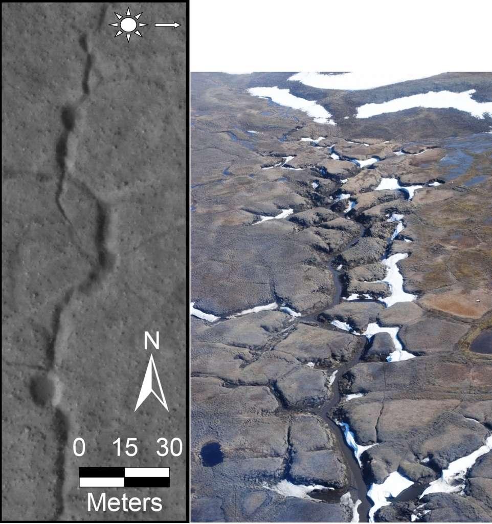 À droite, des écoulements le long de structures polygonales sur l'île de Bylot, dans l'arctique canadien. À gauche, structures sinueuses le long de formations polygonales sur Mars, dans la plaine d'Utopia Planitia par 45° N. Les deux images sont à la même échelle. © CNRS, E. Godin (image de gauche), Hirise, Nasa, JPL, Univ. of Arizona (image de droite)