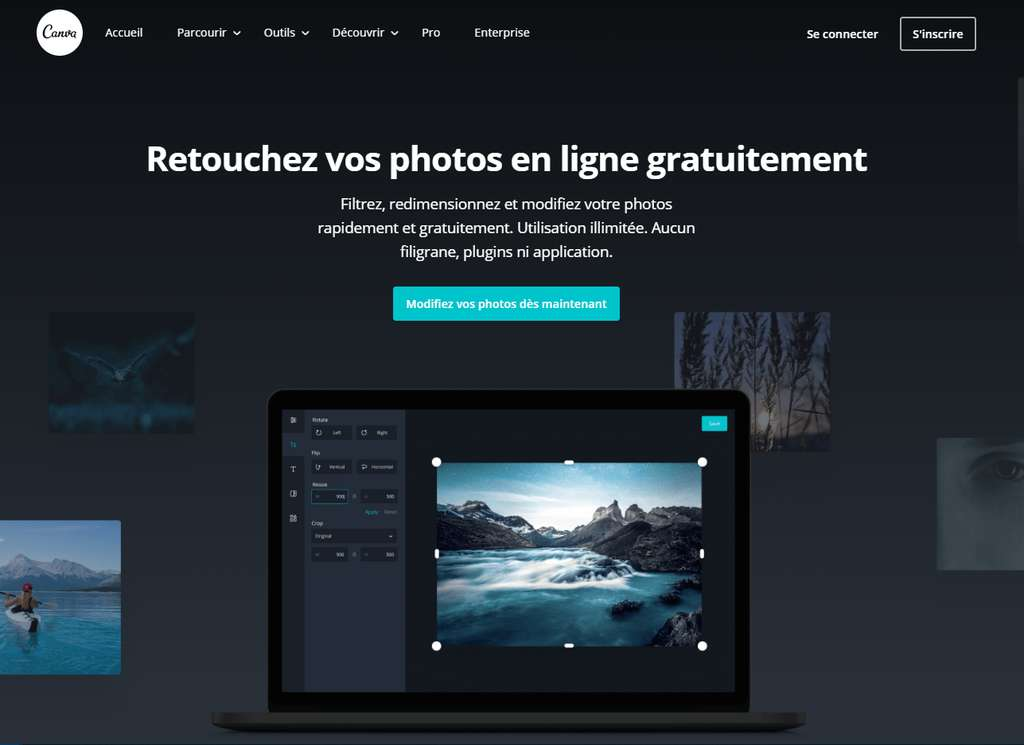 Canva, un outil de retouche photo gratuit et simple à utiliser. © Canva