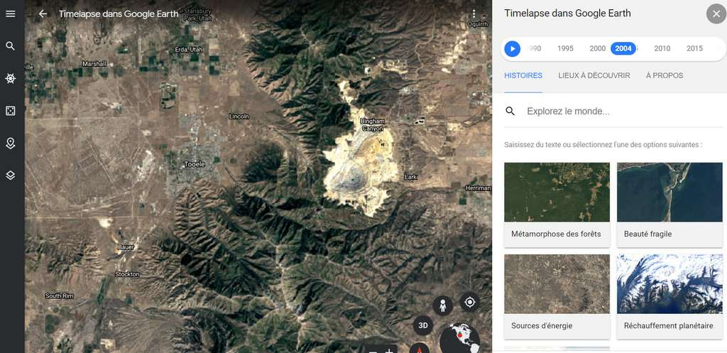 Déserts, villes, forêts, glaciers… Sur près de quatre décennies, on observe l'impact du changement climatique sur la Planète. © Google Earth