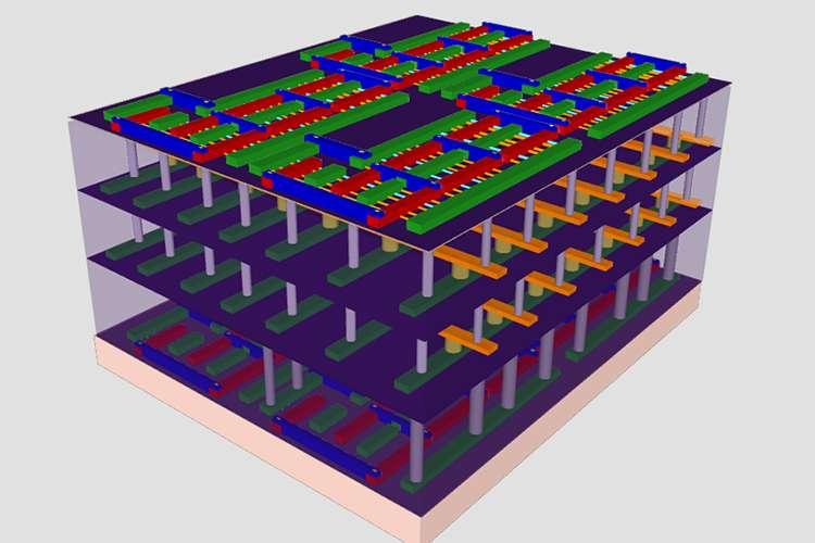 Les chercheurs de Stanford travaillent sur des puces conçues comme des immeubles avec deux couches de mémoire prises en sandwich entre deux transistors. © Max Shulaker