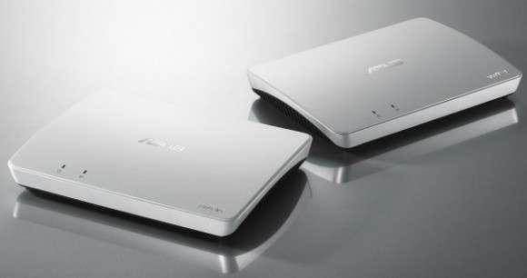Les deux boîtiers Wavi, à connecter au PC et au téléviseur, communiquent entre eux par Wi-Fi. © Asus