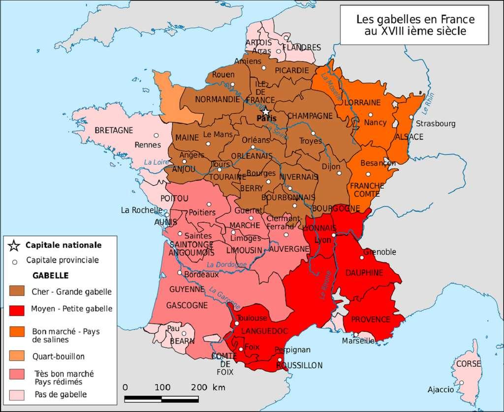 Carte simplifiée des gabelles en France au XVIIIe siècle. Auteur Boldair. © Wikimedia Commons, domaine public