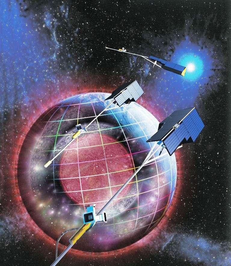 Vue d'artiste de la mission Swarm. Son objectif est de procéder à l'étude la plus complète jamais entreprise du champ géomagnétique terrestre et de son évolution dans le temps. Cette mission de l'Esa est constituée d'une constellation de trois satellites semblables, dont le lancement est prévu en 2013. © EADS, Astrium