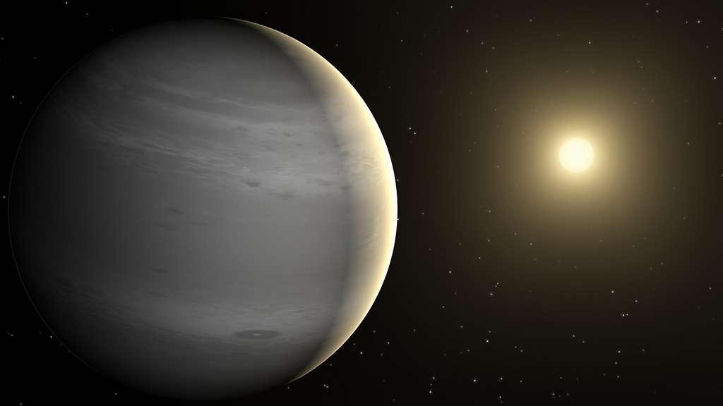 WASP-96b — ici en vue d'artiste —, une Saturne chaude, est à ce jour la seule autre exoplanète connue sans nuages. © Nasa