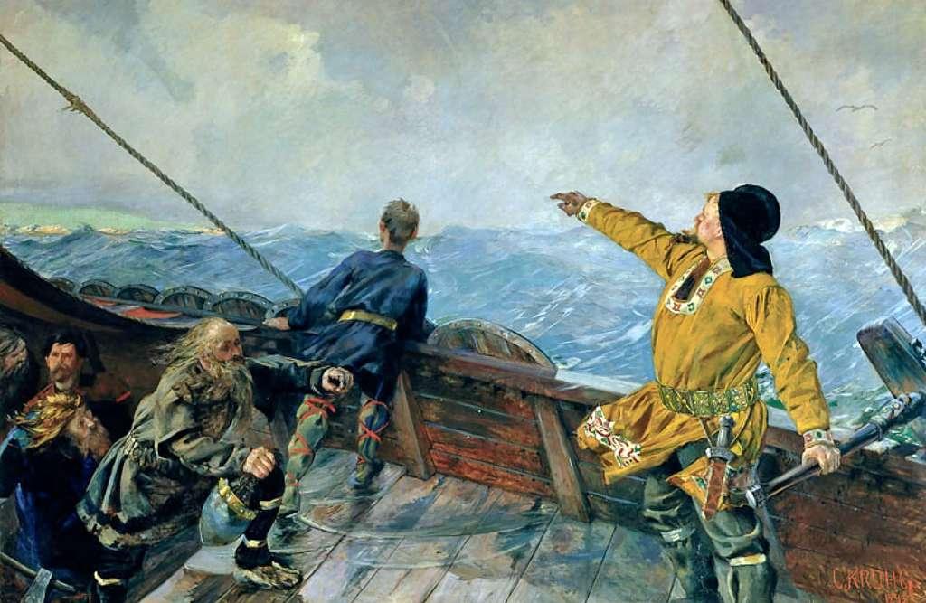 Tableau : Leif Eriksson découvre l'Amérique, par Christian Krohg en 1893. National Gallery, Oslo, Norvège. © Wikimedia Commons, domaine public.
