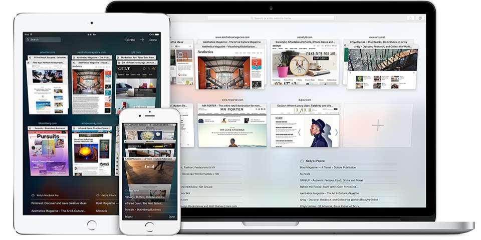 Ordinateur, tablette ou smartphone, le Web se décline sous toutes les formes avec des textes et des images qui s'adaptent automatiquement à la taille de l'écran. © Apple