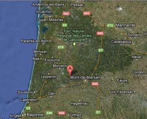 Carte des Landes, département de la région Aquitaine. © Google Maps