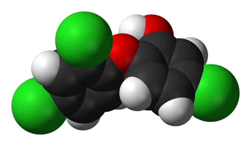 Le triclosan, ici représenté en 3 dimensions, fait partie des phénols mis en cause dans cette étude. © Ben Mills, Wikimedia Commons, DP