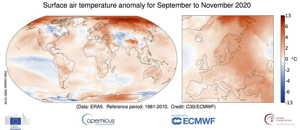 Anomalie de la température de l'air de surface pour l'automne boréal de septembre 2020 à novembre 2020 par rapport à la moyenne de 1981-2010. Source des données : ERA5. © Copernicus Climate Change