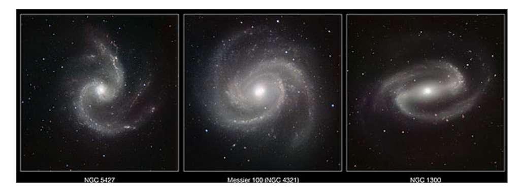 Exemples de galaxies spirales photographiées en lumière infrarouge par le VLT (Very Large Telescope) de l'ESO (European Southern Observatory), au Chili : de gauche à droite, NGC 5427, NGC 4321 et NGC 1300. © ESO