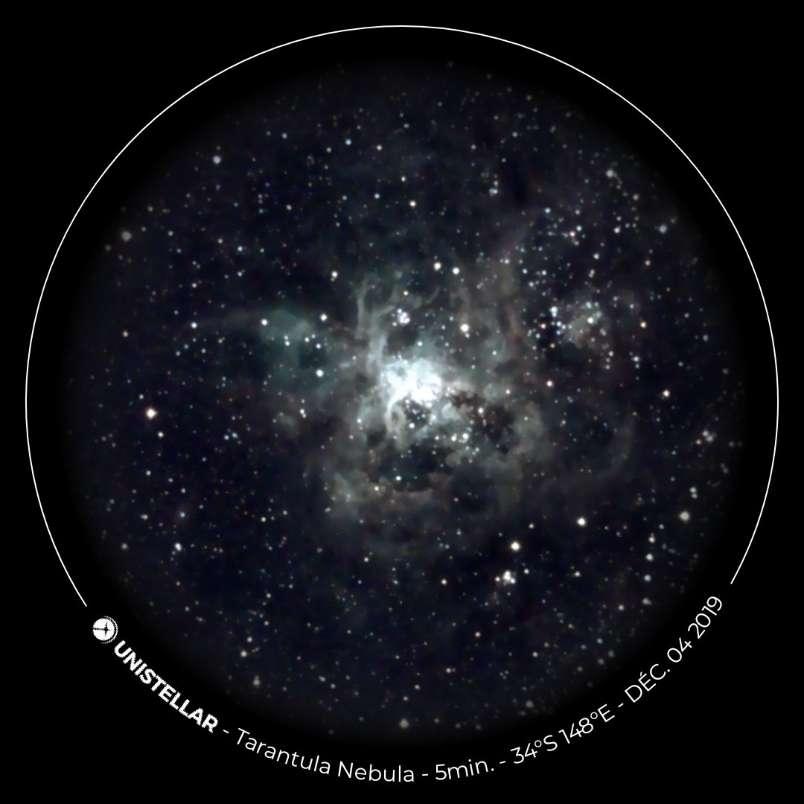 La nébuleuse de la Tarentule dans le Grand Nuage de Magellan vue dans l'eVscope. Elle se situe à 160.000 années-lumière de la Voie lactée. © 2017-2020 - Unistellar, tous droits réservés