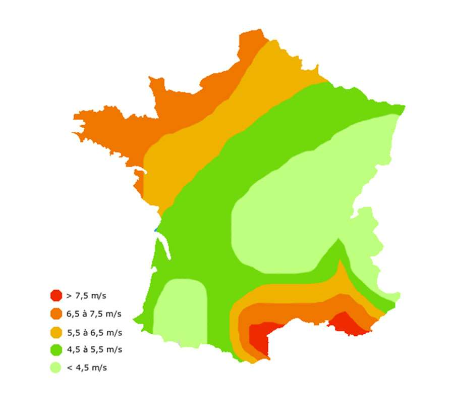 Répartition des vents en France à une altitude de 50 m. © EDP Sciences