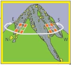 Des zones d'échantillonnage étaient placées sur chacune des 4 faces des soixante sommets observés. © Gottfried et al. 2012, Nature Climate Change
