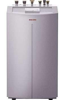 PAC compacte HT° intégrant une régulation de chauffage, un circulateur, une vanne de sécurité et une cartouche chauffante. Forme compacte pour montage en sous-sol d'habitation ou petit local technique. Capacité thermique : 5,50 à 16,10 kW (selon modèle). Débit volumétrique côté source de chaleur : 1,40 à 3,80 m3/h. Température de départ chauffage jusqu'à 60 °C. Niveau sonore : nc. COP : 2,82 à 4,70. Modèle WPF Série Confort (prix : voir fabricant). © Stiebel Eltron