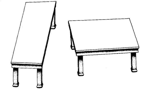 Illusion de la table de Shepard : les deux tables font la même longueur, nos perceptions peuvent nous tromper. © Wikipédia