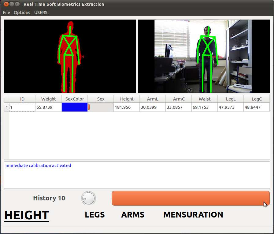 Kinect commence par prendre les mesures sur 6 points du corps afin de pouvoir déterminer le genre, la taille et le poids d'une personne. © Eurecom