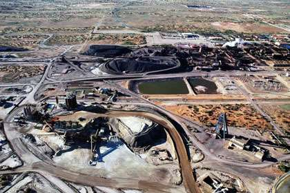Vue aérienne de la mine d'uranium d'Olympic Dam, en Australie. © DR