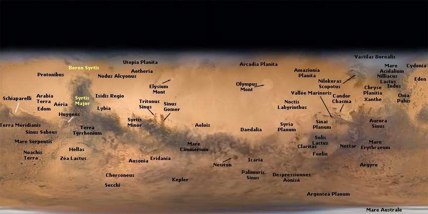 Les principales régions visibles sur ce portrait de Mars obtenu à l'observatoire du Pic du Midi. © T. Legault, F. Colas, J.-L. Dauverne