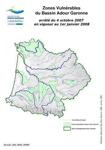 En vert clair les zones vulnérables du bassin. Les risques de crues sont donc importants. © Agence de l'eau Adour-Garonne