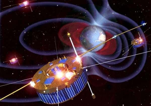 Les 4 satellites de la mission Cluster surveillent le vent solaire depuis maintenant 10 ans. Crédit Esa