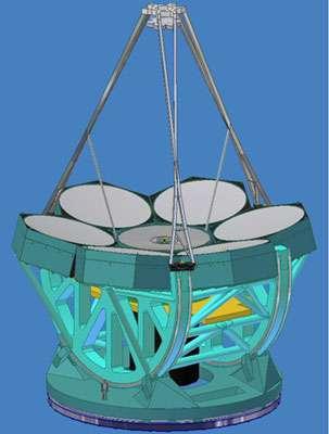 Figure 8. Une autre représentation du GMT. On notera l'échelle indiquée par la taille d'une personne à la base du télescope. © GMT