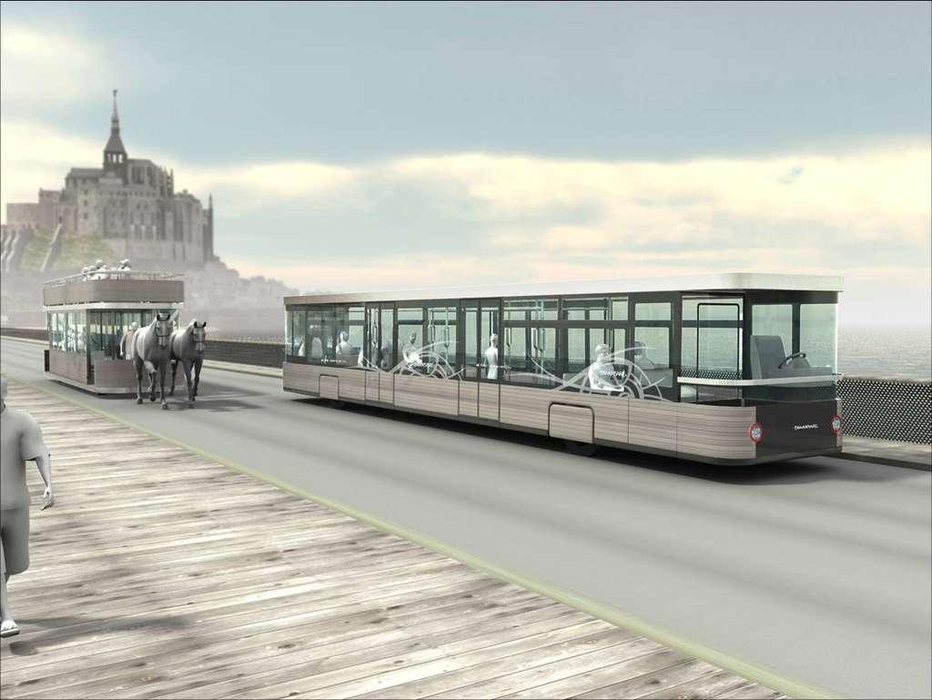 Navette hypomobile sur le pont-passerelle du Mont-Saint-Michel