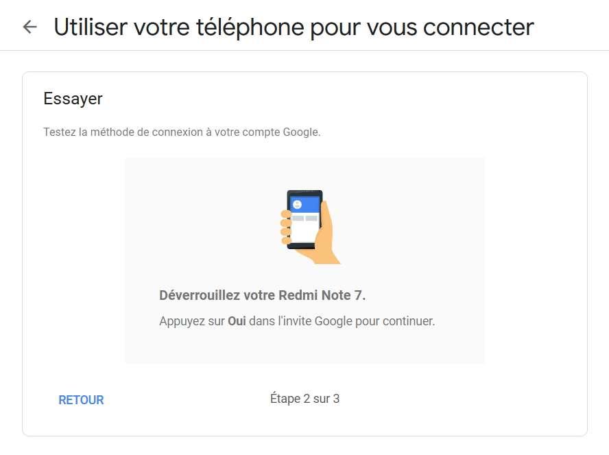Un message vous informe qu'une invite de connexion vous attend sur votre smartphone. © Google