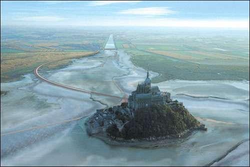 Photomontage réalisé avant la fin des travaux et illustrant le Mont Saint-Michel tel qu'il est à présent. © Imagence 3d, Tous droits de reproduction interdits
