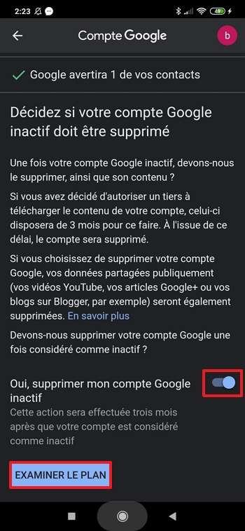 Décidez si votre compte Google doit être supprimé ou non en cas d'inactivité. © Xiaomi Corporation