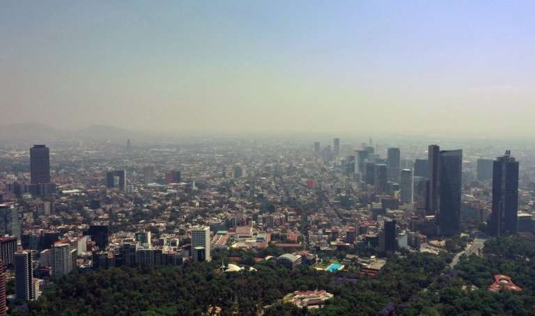 Jour de pollution à Mexico, le 1er avril 2020. © Alfredo Estrella, AFP