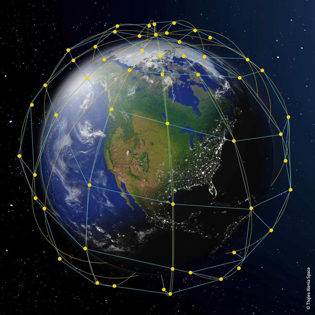 À l'avenir, les systèmes d'autonavigation et d'exploitation temps réel seront capables de rendre très autonomes les constellations de satellites pour le contrôle de leur orbite et leur repositionnement mais pour les communications entre eux. © Thales Alenia Space
