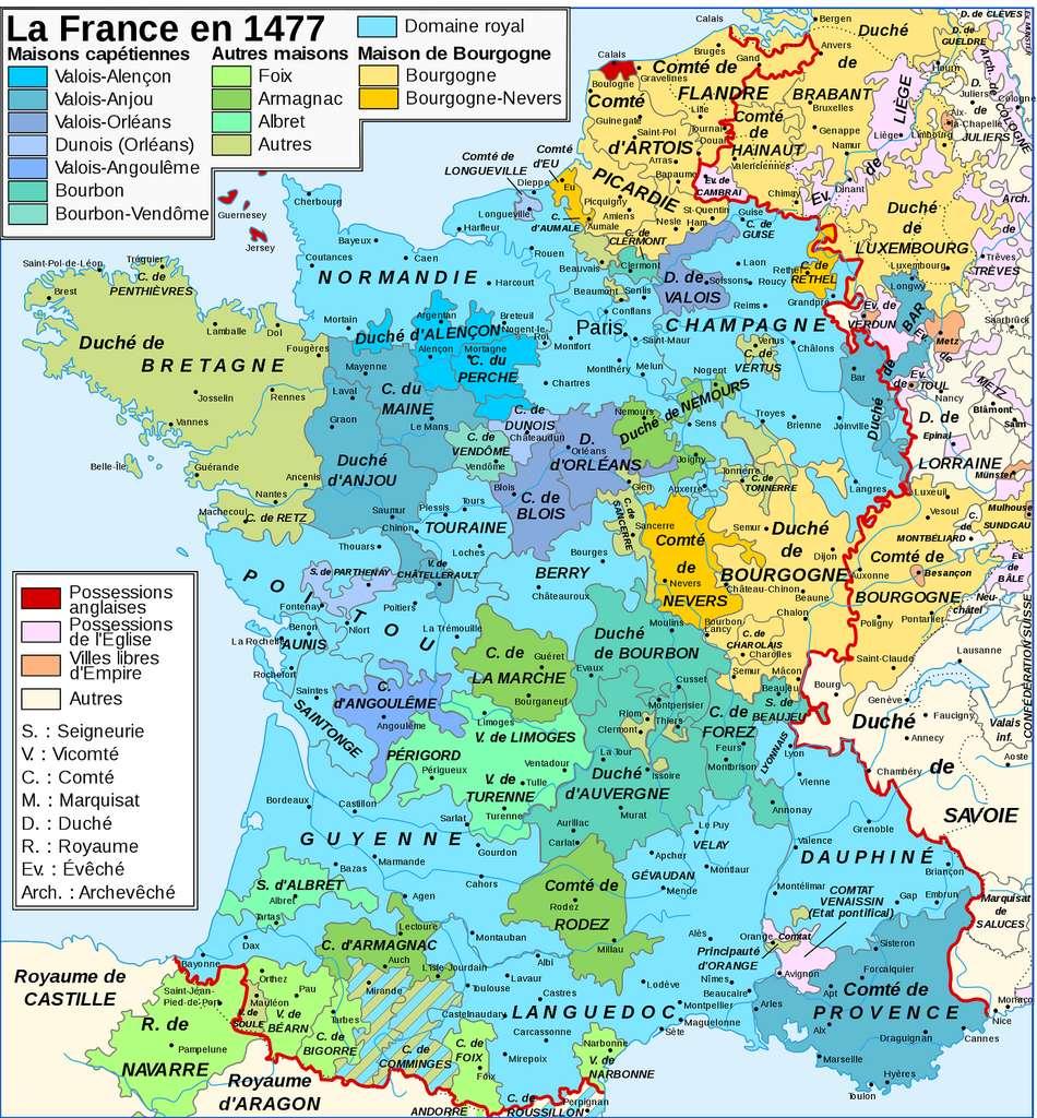 Royaume de France et domaine royal en 1477, carte tirée du Grand Atlas Historique, éditions du Livre, Paris, 1968. © Wikimedia Commons, domaine public