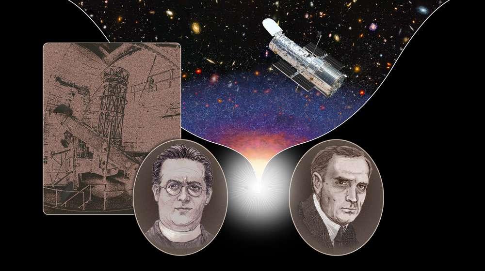 Georges Lemaître (1894-1966), à gauche, et Edwin Hubble (1889-1953), à droite, sont les premiers à avoir observé l'éloignement des galaxies. Le télescope sur la gauche est le télescope Hooker du mont Wilson en Californie. Le télescope spatial Hubble est sur la droite. © A. Feild, Nasa, Esa