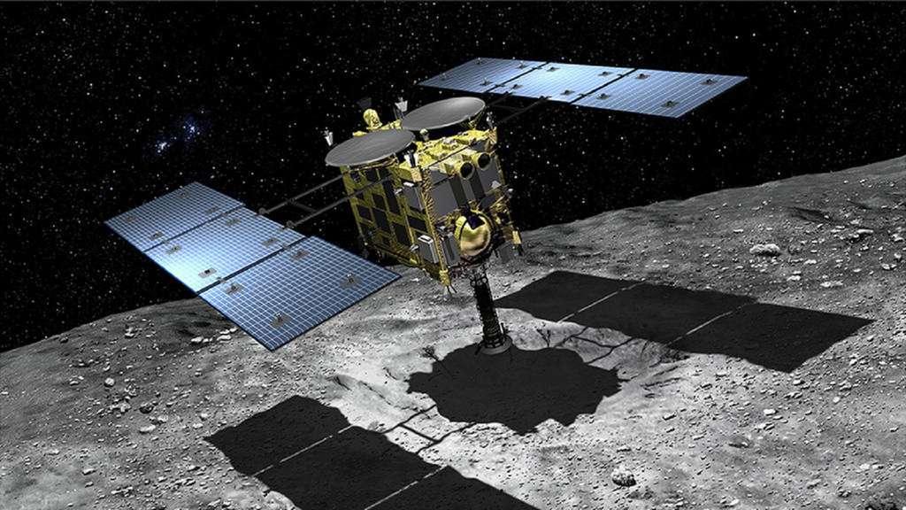 En décembre, la sonde japonaise Hayabusa-2 rapportera sur Terre les échantillons de l'astéroïde Ryugu. © Akihiro Ikeshit, Jaxa