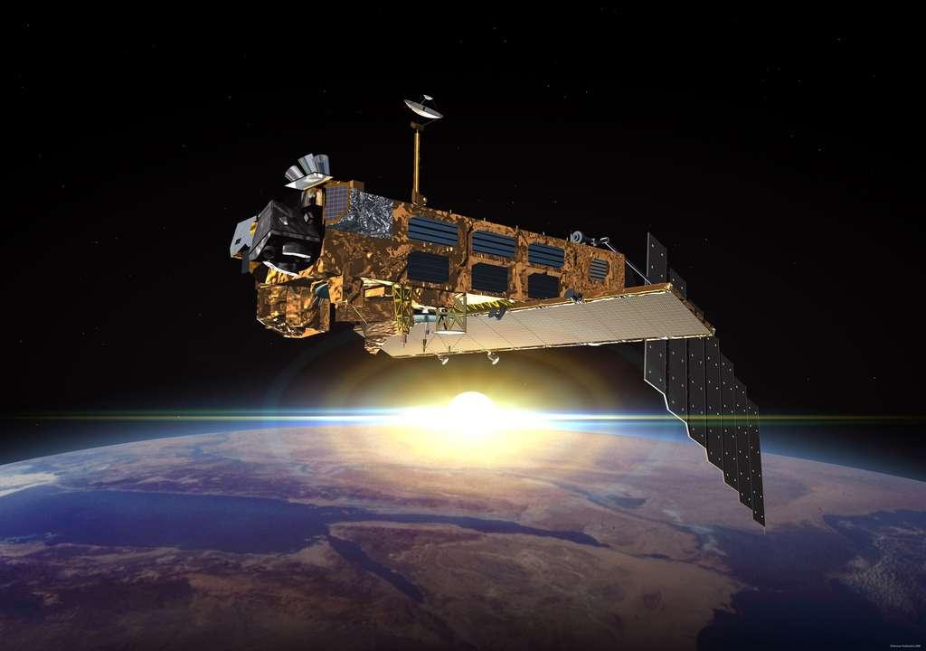 Malgré sa panne, l'imposant Envisat est resté sur son orbite polaire. © Esa