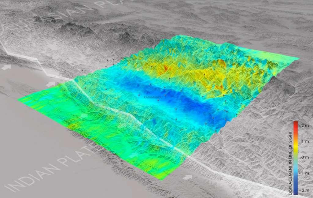 Après le tremblement de terre survenu au Népal en avril 2015, le satellite Sentinel 1A a été utilisé pour calculer les déplacements du sol causés par le séisme. © Copernicus data