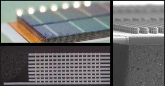 Pour sa nouvelle architecture processeur, NVidia a opté pour une mémoire vive en 3D. Les cellules DRAM sont empilées à la verticale et intégrées sur le même semi-conducteur que le processeur graphique. L'accès mémoire est beaucoup plus rapide tout en autorisant un design beaucoup plus compact. © NVidia