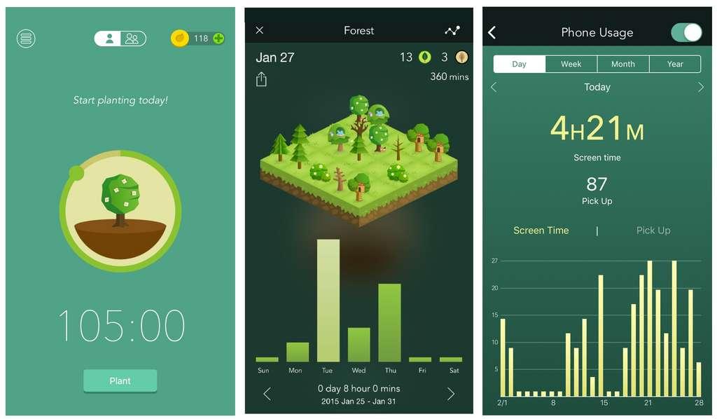 Plus vous restez loin de votre écran, plus vous obtiendrez une belle forêt sur l'application Forest. © Forest