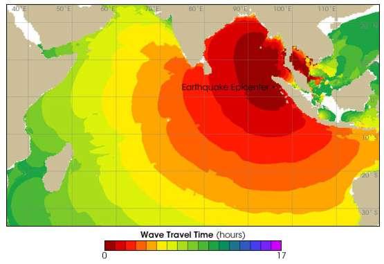 Tsunami : temps de parcours des vagues