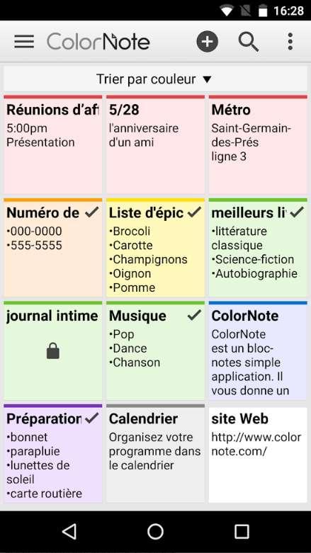 ColorNote est une application simple mais efficace pour prendre des notes, créer des mémos puis les organiser intelligemment. © Social & Mobile