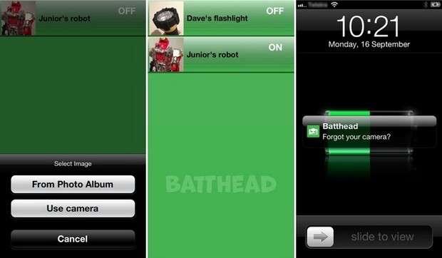 Les concepteurs de la pile Batthead ont développé une application iOS afin d'illustrer les possibilités de contrôle à distance. Un appareil équipé d'une telle pile peut par exemple réagir en fonction de sa proximité avec le terminal mobile afin de s'allumer, s'éteindre ou signaler sa présence. © Vonkil Technologies
