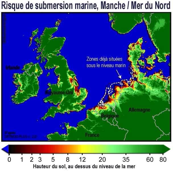 Les côtes seront redessinées avec une hausse du niveau de la mer. Ici les zones à risque de submersion en Manche et en Mer du Nord, avec l'indication de leur hauteur (en cm). Dans certains deltas en Asie et pour de nombreuses îles basses, c'est une partie importante des territoires qui est menacée. © Lamiot CC by-sa