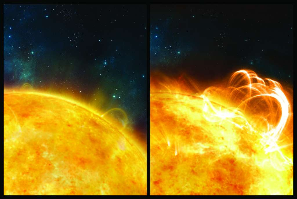 À gauche : illustration du Soleil dans une phase tranquille. À droite : une superéruption jaillit du Soleil. © University of Warwick, Ronald Warmington