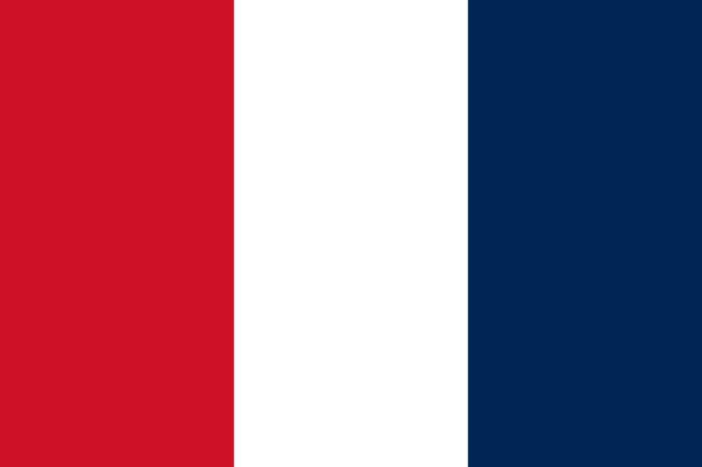 Dessin du drapeau français entre 1790 et 1794, le bleu est à droite. © Wikimedia Commons, domaine public.