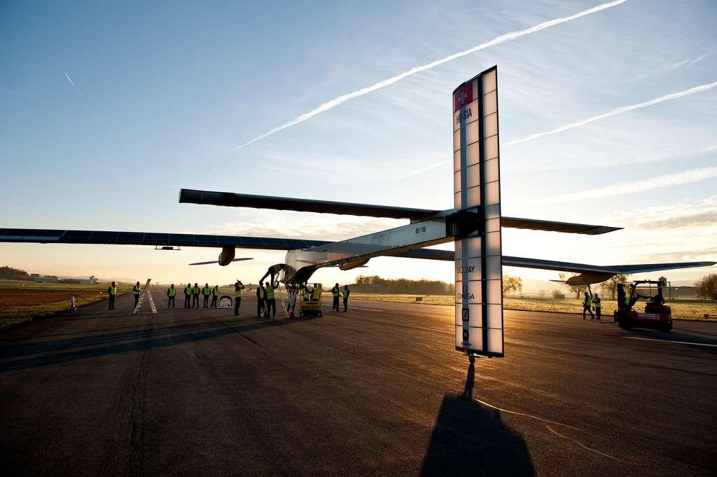 Le premier vol d'essai du prototype HB-SIA a eu lieu le 6 avril 2011. © Solar Impulse, Fred Merz, rezo.ch