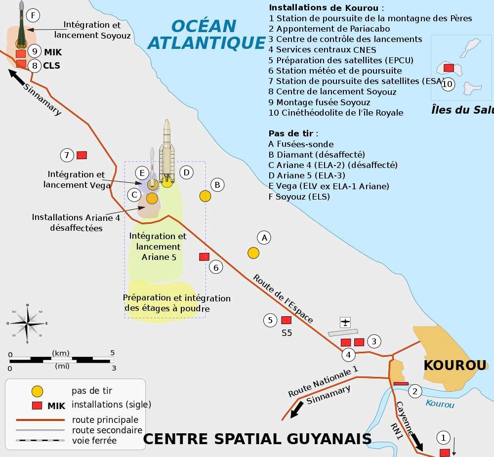 Carte des installations du Centre spatial guyanais (CSG) de Kourou, Guyane Française. © Pline, Wikimedia commons, CC by-sa 3.0