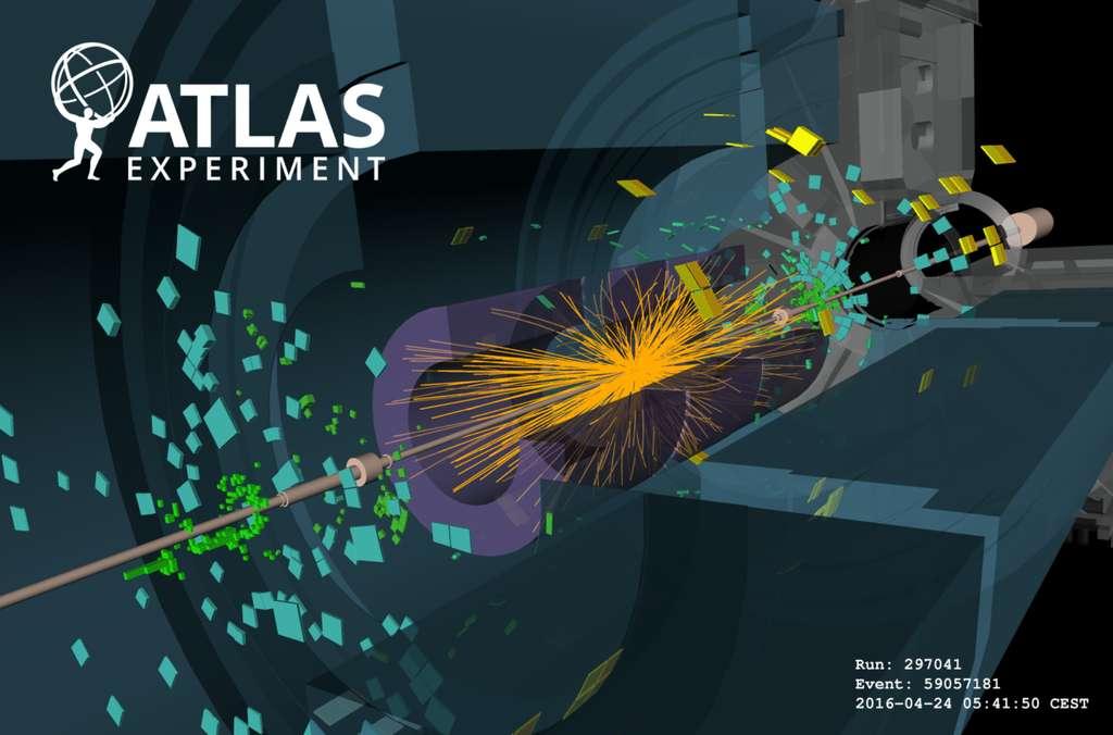 Une collision proton-proton enregistrée par le détecteur Atlas lors de la mise en service du LHC en 2016 avec des faisceaux de faible intensité. © Cern