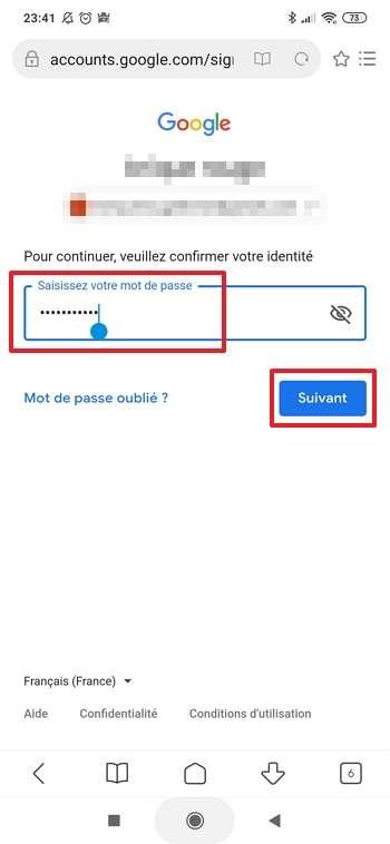 Entrez votre mot de passe et appuyez sur « Suivant ». © Google Inc.
