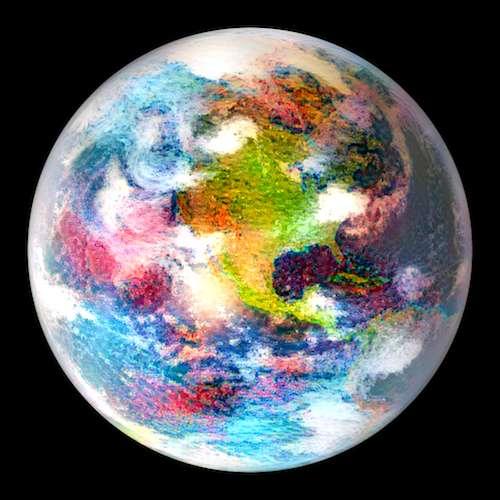 À quoi rêve Robert? À une autre Terre comme ici vue au prisme de la peinture de Claude Monet. © Waldmann, UCL, Gatys